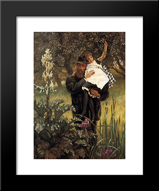 The Widower: Modern Custom Black Framed Art Print by James Tissot