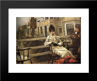 Waiting For The Ferry: Modern Custom Black Framed Art Print by James Tissot