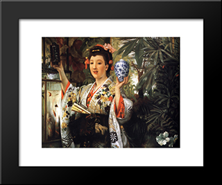 Young Lady Holding Japanese Objects: Modern Custom Black Framed Art Print by James Tissot