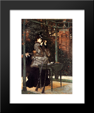 At The Rifle Range: Modern Custom Black Framed Art Print by James Tissot
