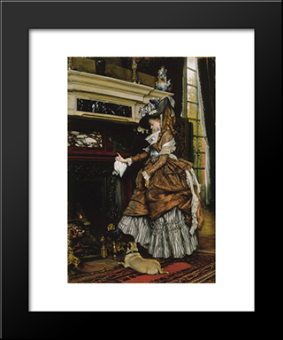 La Cheminee: Modern Custom Black Framed Art Print by James Tissot