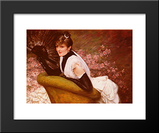 Portrait Of A Woman At L'Eventail: Modern Custom Black Framed Art Print by James Tissot