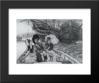 How Happy I Could Be With Either: Modern Custom Black Framed Art Print by James Tissot