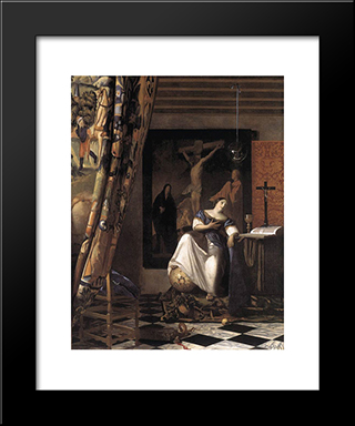 The Allegory Of The Faith: Modern Custom Black Framed Art Print by Johannes Vermeer