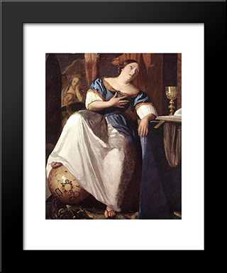 The Allegory Of The Faith [Detail: 1]: Modern Custom Black Framed Art Print by Johannes Vermeer