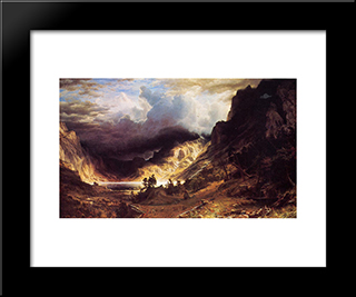 A Storm In The Rocky Mountains, Mr. Rosalie: Modern Custom Black Framed Art Print by Albert Bierstadt