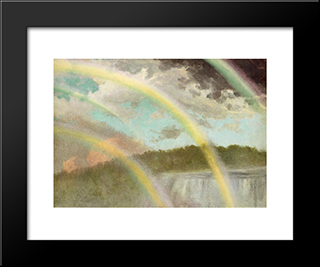 Four Rainbows Over Niagara Falls: Modern Custom Black Framed Art Print by Albert Bierstadt