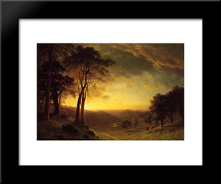 Sacramento River Valley: Modern Custom Black Framed Art Print by Albert Bierstadt