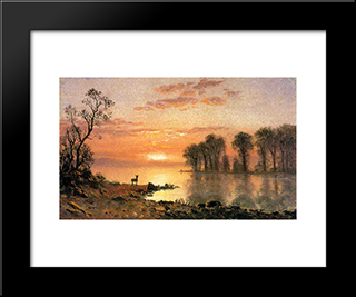 Sunset: Modern Custom Black Framed Art Print by Albert Bierstadt