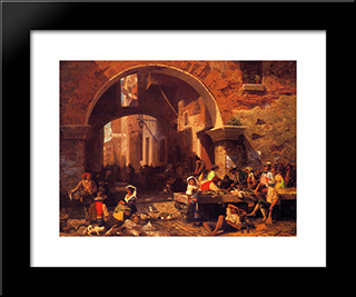 The Portico Of Octavia: Modern Custom Black Framed Art Print by Albert Bierstadt