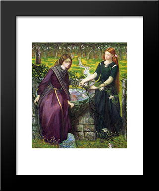 Dante'S Vision Of Rachel And Leah: Modern Custom Black Framed Art Print by Dante Gabriel Rossetti