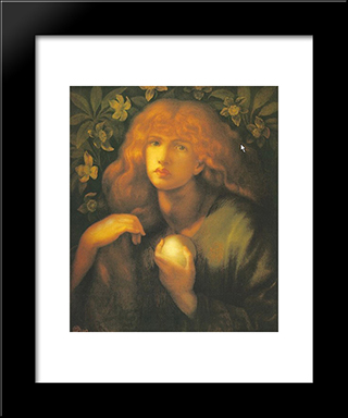 Mary Magdalen: Modern Custom Black Framed Art Print by Dante Gabriel Rossetti