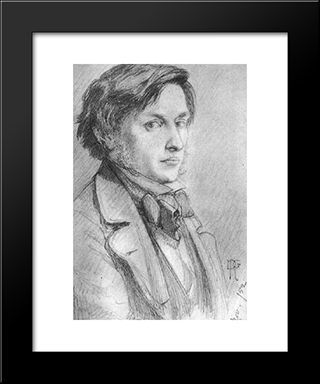 Portrait Of Ford Madox Brown: Modern Custom Black Framed Art Print by Dante Gabriel Rossetti