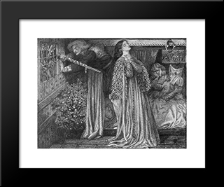 Sir Launcelot In The Queen'S Chamber: Modern Custom Black Framed Art Print by Dante Gabriel Rossetti