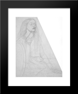 The Return Of Tibullus To Delia: Study For Delia: Modern Custom Black Framed Art Print by Dante Gabriel Rossetti