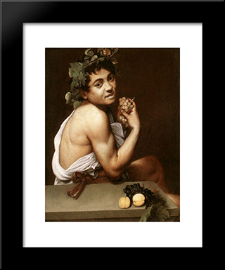 Sick Bacchus: Modern Custom Black Framed Art Print by Caravaggio