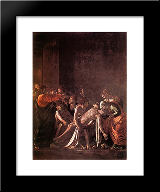 The Raising Of Lazarus: Modern Custom Black Framed Art Print by Caravaggio