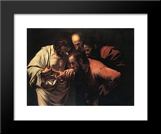 The Incredulity Of Saint Thomas: Modern Custom Black Framed Art Print by Caravaggio