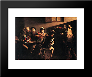 The Calling Of St. Matthew: Modern Custom Black Framed Art Print by Caravaggio