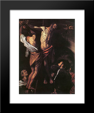 The Crucifixion Of St. Andrew: Modern Custom Black Framed Art Print by Caravaggio