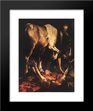 The Conversion On The Way To Damascus: Modern Custom Black Framed Art Print by Caravaggio
