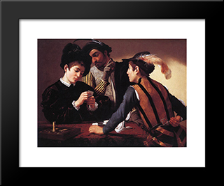 The Cardsharps: Modern Custom Black Framed Art Print by Caravaggio