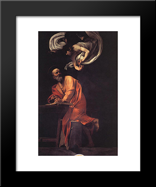 The Inspiration Of Saint Matthew: Modern Custom Black Framed Art Print by Caravaggio