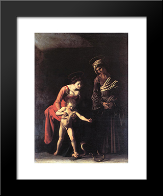 Madonna With The Serpent: Modern Custom Black Framed Art Print by Caravaggio
