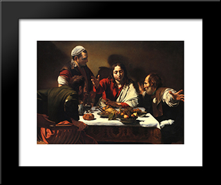 The Supper At Emmaus: Modern Custom Black Framed Art Print by Caravaggio