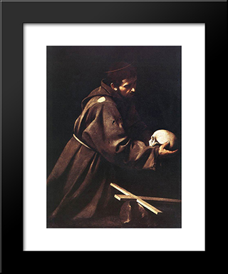 St. Francis: Modern Custom Black Framed Art Print by Caravaggio