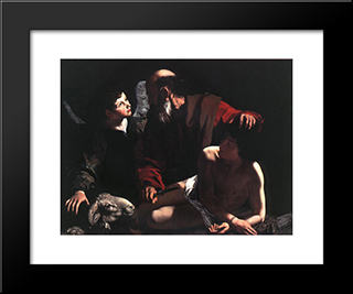 The Sacrifice Of Isaac: Modern Custom Black Framed Art Print by Caravaggio