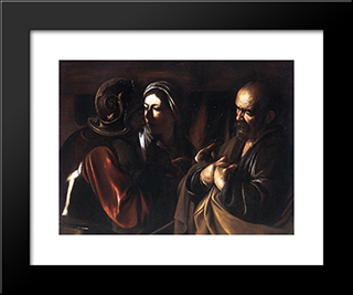 The Denial Of St. Peter: Modern Custom Black Framed Art Print by Caravaggio