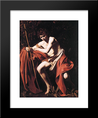 St. John The Baptist: Modern Custom Black Framed Art Print by Caravaggio