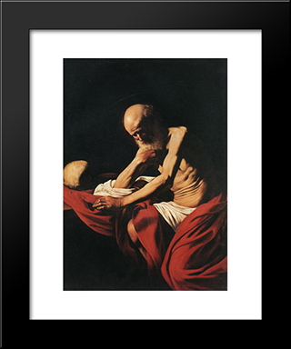 St. Jerome: Modern Custom Black Framed Art Print by Caravaggio