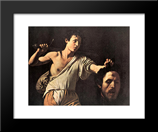 David: Modern Custom Black Framed Art Print by Caravaggio
