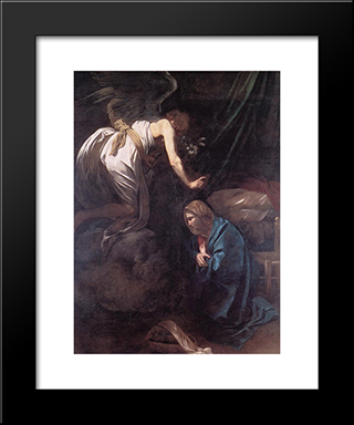 The Annunciation: Modern Custom Black Framed Art Print by Caravaggio