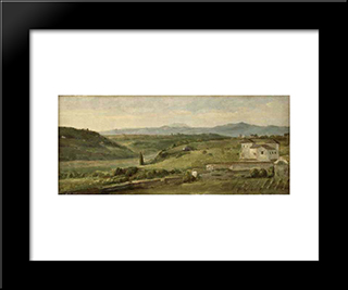 Panoramic Landscape With A Farmhouse: Modern Custom Black Framed Art Print by George Frederick Watts