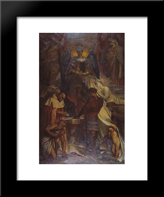 The Court Of Death: Modern Custom Black Framed Art Print by George Frederick Watts