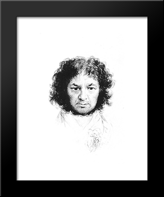 Self-Portrait: Modern Custom Black Framed Art Print by Francisco Goya