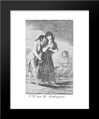 Caprichos - Plate 7: Even Thus He Cannot Make Her Out: Modern Custom Black Framed Art Print by Francisco Goya