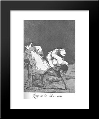 Caprichos - Plate 8: They Carried Her Off: Modern Custom Black Framed Art Print by Francisco Goya