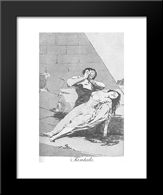Caprichos - Plate 9: Tantalus: Modern Custom Black Framed Art Print by Francisco Goya