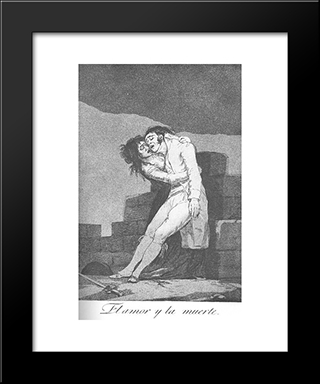 Caprichos - Plate 10: Love And Death: Modern Custom Black Framed Art Print by Francisco Goya