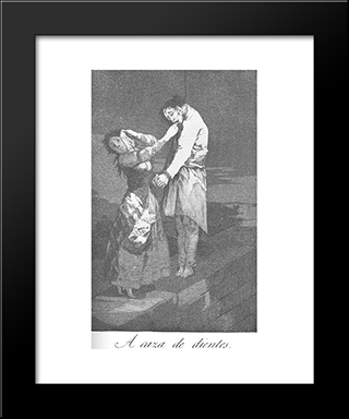 Caprichos - Plate 12: Out Hunting For Teeth: Modern Custom Black Framed Art Print by Francisco Goya
