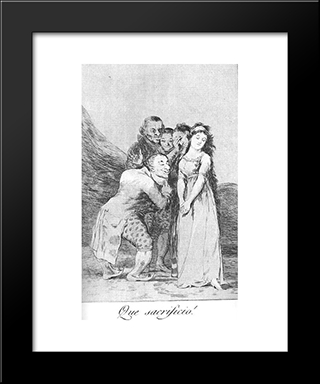 Caprichos - Plate 14: What A Sacrifice!: Modern Custom Black Framed Art Print by Francisco Goya