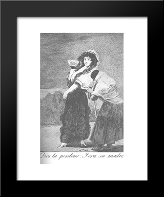 Caprichos - Plate 16: For Heaven'S Sake - And It Was Her Mother: Modern Custom Black Framed Art Print by Francisco Goya