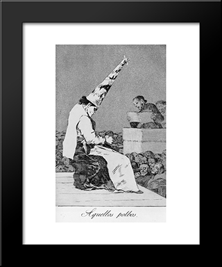 Caprichos - Plate 23: Those Specks Of Dust: Modern Custom Black Framed Art Print by Francisco Goya