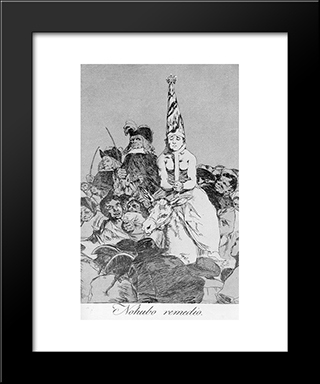Caprichos - Plate 24: Nothing Could Be Done About It: Modern Custom Black Framed Art Print by Francisco Goya