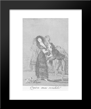 Caprichos - Plate 27: Which Of Them Is More Overcome?: Modern Custom Black Framed Art Print by Francisco Goya