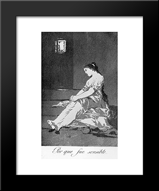 Caprichos - Plate 32: Because She Was Susceptible: Modern Custom Black Framed Art Print by Francisco Goya